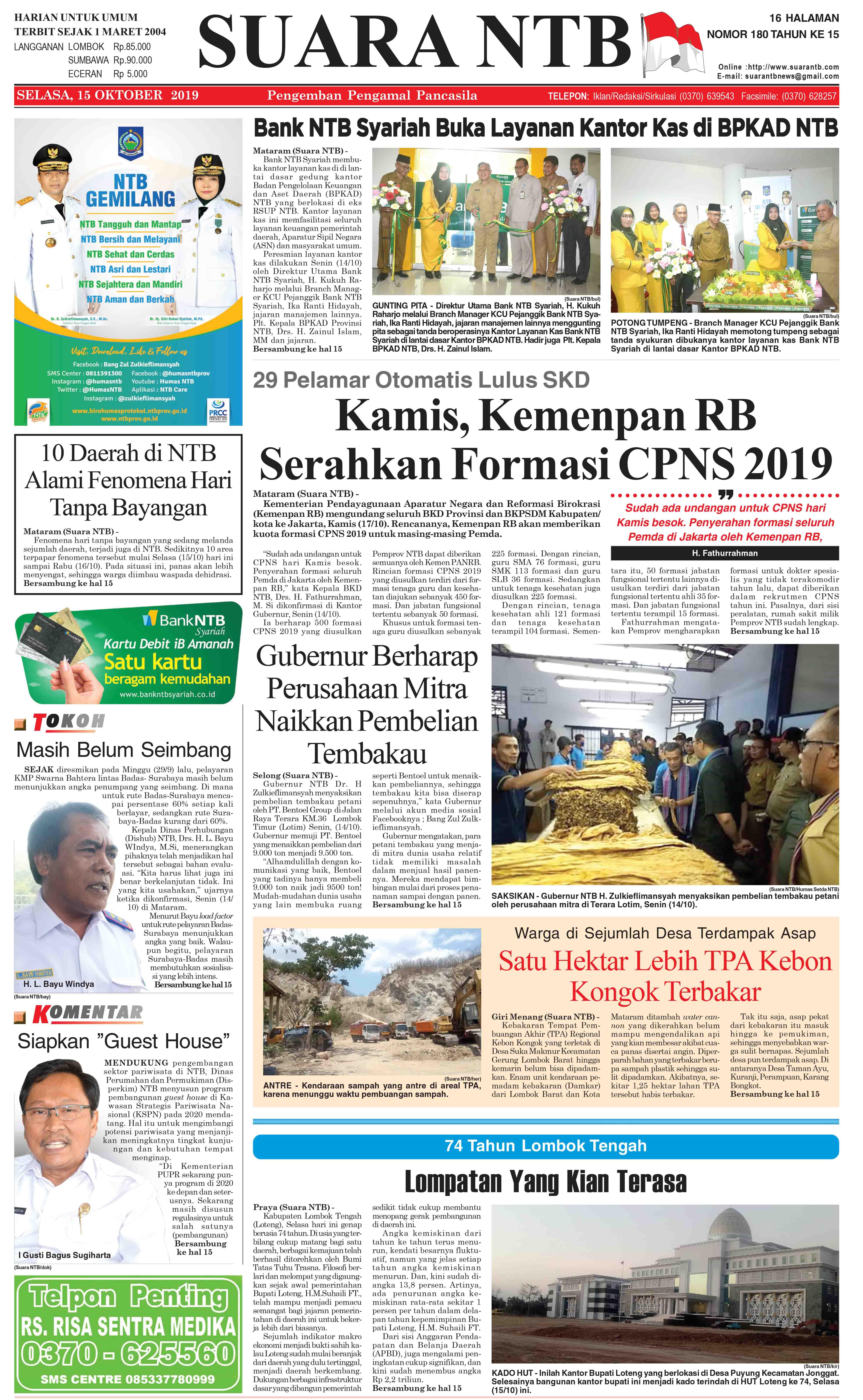 suara ntb edisi 15 oktober 2019